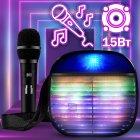 Музыкальная портативная Bluetooth колонка Wireless A25 переносная ЮСБ с громким звуком и светом для телефона, компьютера, ноутбука - USB акустическая стерео система с микрофоном + разъём под флешку + AUX + карта памяти, Чёрный - изображение 1