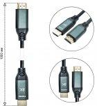 Кабель XoKo HC-100 HDMI — HDMI 8K 2.1 1 м Чорний (HC-100-1) - зображення 4