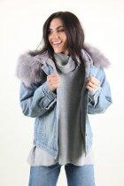 Куртка женская M.J. 1021 искусственный мех (Синий M/L) - изображение 3