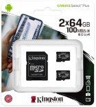 Kingston microSDXC 2х64GB Canvas Select Plus Class 10 UHS-I U1 V10 A1 + SD-адаптер (SDCS2/64GB-2P1A) - зображення 1