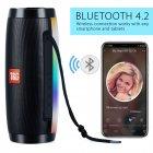 Портативна акустична колонка T&G з LED-підсвічуванням і ремінцем для перенесення Bluetooth 10Вт Чорна (TG157stereo-01) - зображення 5