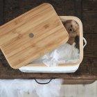 Коробка з кришкою IKEA RABBLA 25x35x20 см коричнева бежева 603.481.25 - зображення 5