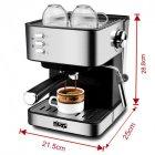 Кавоварка еспресо ріжкова напівавтоматична кавова машина DSP Espresso Coffee Maker KA-3028 850W - зображення 2
