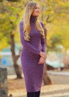 Трикотажное платье футляр ENME 09081-600 L Фиолетовый - изображение 2