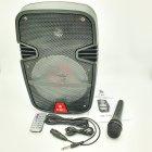 """Портативна колонка 8"""" акумуляторна бездротова Bluetooth караоке з провідним мікрофоном USB FM 40Вт UKC RE-258 - зображення 2"""
