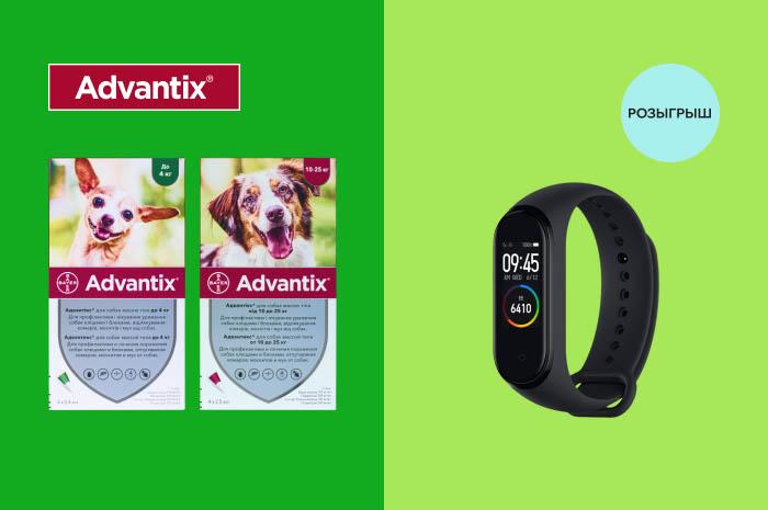 Акция! Среди покупателей капель Адвантикс® от паразитов разыгрываем 10 фитнес-браслетов!